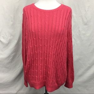 Vineyard Vines Coral Cable Knit Crewneck Sweater